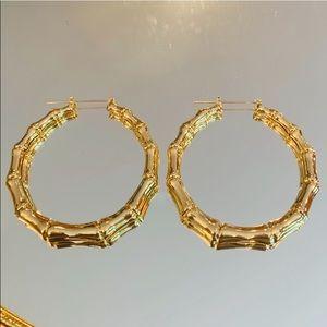 """✨🌟2 5/8"""" Gold Bamboo Hoop Earrings ✨"""